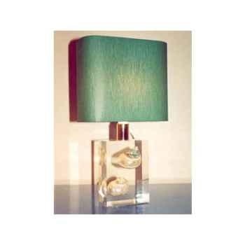 Mini Lampe Vert-Blanc Abat-jour Rectangle Vert Foncé-73