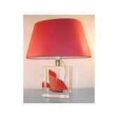 petite lampe chaloupe can 23 rouge abat jour ovale rouge 85