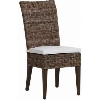 12 chaises Joséphine Rotin Kooboo grises avec coussin KOK 472G C472 x12