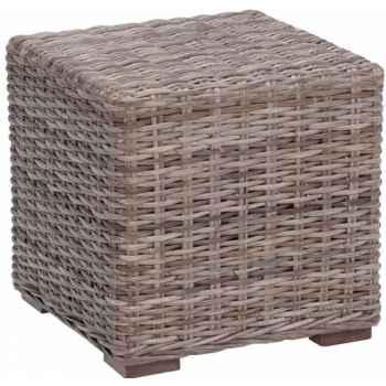 Bout de canapé domino Rotin Kooboo gris avec verre ep 4 mm KOK 515G - DAC 317