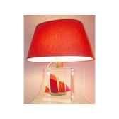 petite lampe chaloupe rouge vert abat jour ovale rouge 87