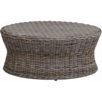 Grande table Biblos Rotin Kooboo gris avec verre ep 6 mm KOK 578G-DAC 309