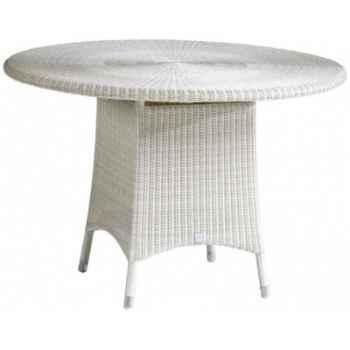 Table repas Cigale résine Crème avec verre ep 6 mm KOK 597/1w-DAC 311