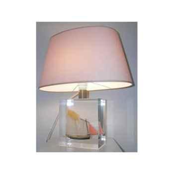 Petite lampe Ovale Lougre Noire & Beige Abat-jour Ovale Beige-89