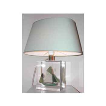 Petite Lampe Ovale Thonier CC 798 Vert Abat-jour Ovale Vert Clair-92