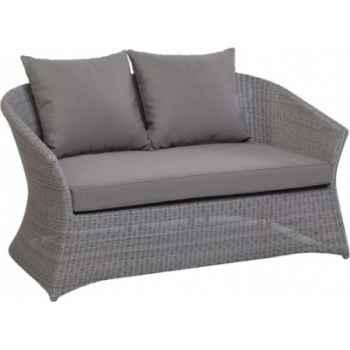 Canapé 2 places Zenith Résine Galet avec coussin tissus gris KOK 852/2H