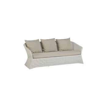 Canapé 3 places Zenith résine Crème avec coussin tissus beige KOK 852/3W