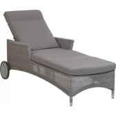 chaise longue atolresine galet avec coussin tissus gris kok 860h