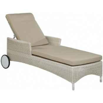 Chaise longue Atoll résine Crème avec coussin tissus beige KOK 860W