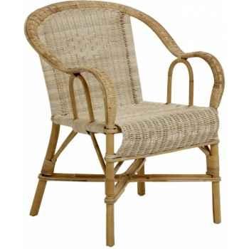 Ensemble 6 fauteuils bac dossier Grand Père sans filets de couleurs - naturel KOK 978