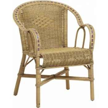 Ensemble 2 fauteuils bac dossier Grand Père avec filets de couleurs - patine KOK 978RB