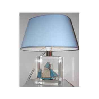 Petite Lampe Ovale Thonier Gx Bleu Abat-jour Ovale Bleu Clair-97