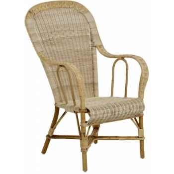 Ensemble 6 fauteuils haut dossier Grand Père sans filets de couleurs - naturel KOK 979