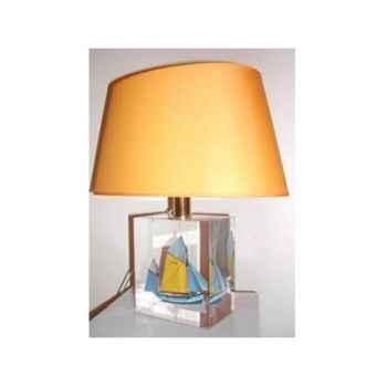 Petite lampe Ovale Thonier Jaune & Bleu Clair Abat-jour Ovale Jaune-97-2
