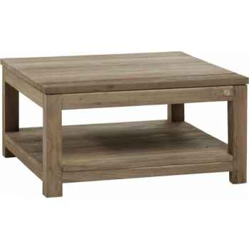 Table basse carrée mm drift Teck Recyclé naturel brossé KOK M40N