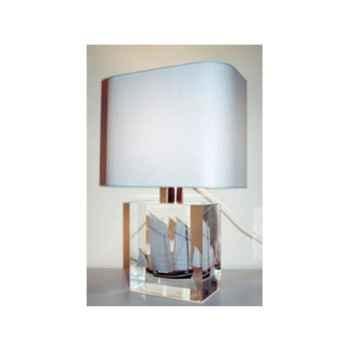 Petite Lampe Rectangle Cancalaise Bleue & Noire Abat-jour Rectangle Bleu Clair-102