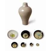 vase ou service de table empilable design ming gris 6 pieces ibride