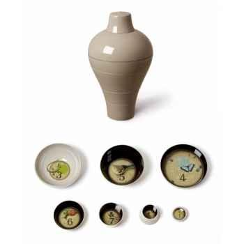Vase ou service de table empilable design Ming gris 6 pièces Ibride