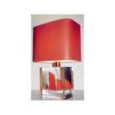 petite lampe rectangle chaloupe rouge blanc abat jour rectangle rouge 105