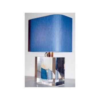 Petite Lampe Rectangle Lougre Blanc & Bleu Abat-jour Rectangle Bleu Foncé-107