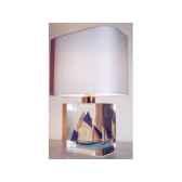 petite lampe rectangle thonier ls 90 deux mats abat jour rectangle bleu clair 113