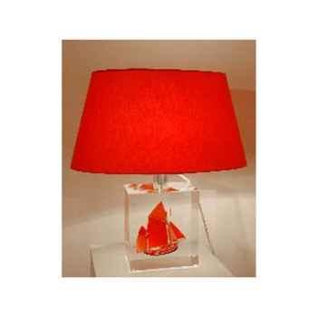 Petite Lampe Thonier Can 23 Noir & Rouge Abat-jour Ovale Rouge-98-1