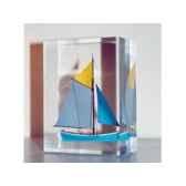 mini inclusion petite barque bleu clair jaune 49