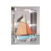 mini inclusion petite barque bleu et abricot 48