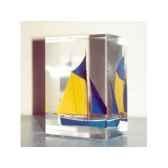 mini inclusion petite barque bleu fonce jaune 50