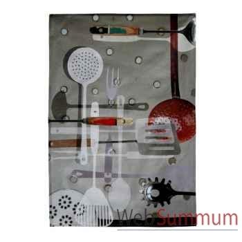 """Maron Bouillie-Batterie de cuisine-Torchon de cuisine, illustration """"Outils de cuisine""""."""