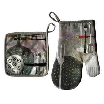 Maron Bouillie-Maniques et gants, illustration outils de cuisine.