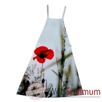 Maron Bouillie-Tablier-robe illustration fleurs coquelicots.