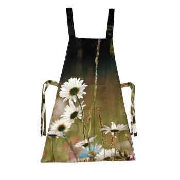 Maron Bouillie-Tablier-robe illustration fleurs marguerites.