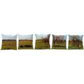 maron bouillie coussins moutons serie de 5 coussins