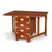 table pliante rectangulaire en acajou massif a 2 abattants meuble de navire tabarly