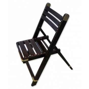 Chaise pliante en palissandre massif et laiton à larges barreaux Meuble de navire BARTH