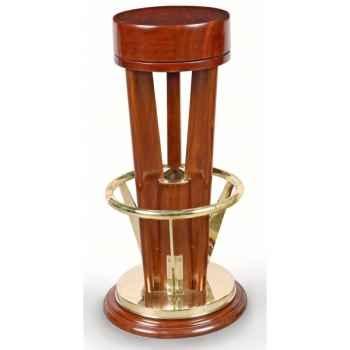 Tabouret de bar du tripode acajou massif avec repose pied laiton massif assise pivotante -réédition paquebot olympia Meuble de n