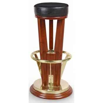 Tabouret de bar du tripode acajou massif repose pied laiton massif assise pivotante cuir noir -réédition paquebot olympia Meuble