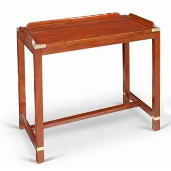 Table ou etagere basse rectangulaire en acajou massif avec barres anti roulis sur le plateau avec renfort et ornement pour la ma