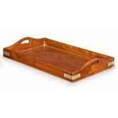 plateau en acajou massif petit modele avec poignee renforts et ornement pour la marine en laiton massif meuble de navire loti i