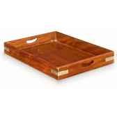 plateau en acajou massif grand modele sans poignee avec renforts de protection et ornement pour la marine en laiton massif meubl