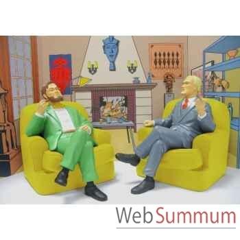Blake et mortimer dans leur fauteuil + decor Leblon-Delienne BLMST01403