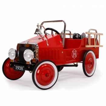 Camion de pompier à pédales en métal - 92 x 37 cm - 3 à 5 ans - pédales et siège réglables -accessoires -1938FE