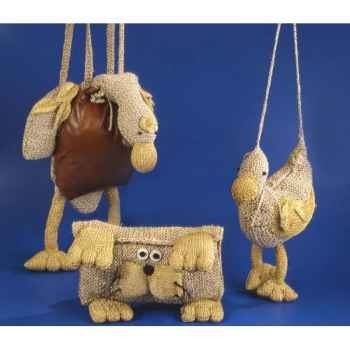 Peluche personnage tricot grand sac canard