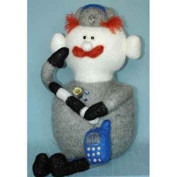 Peluche personnage tricot homme telephone