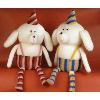 Peluche personnage tricot ours clown bleu