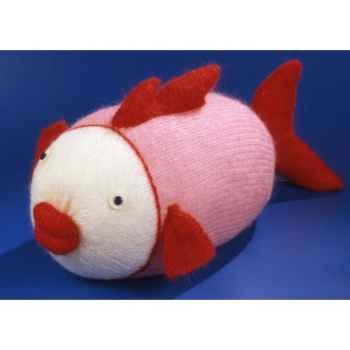 Peluche personnage tricot poisson rose