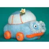 peluche personnage tricot voiture bleu