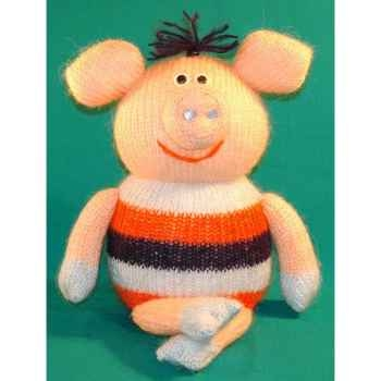 Peluches Animaux tricot  - Cochon assis