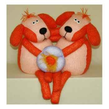 Peluches Animaux tricot - Chiens amoureux